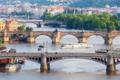 Panorama of the old Prague from the Letna park, Czech Republic.