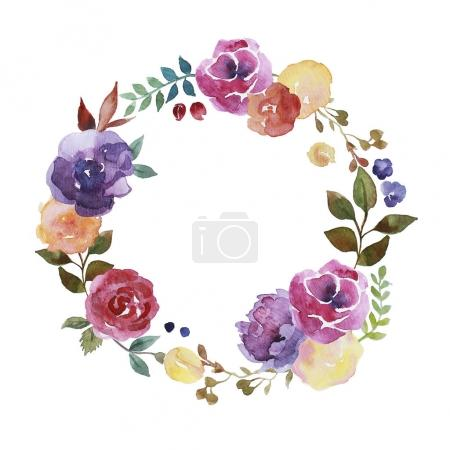 Colorful watercolour floral wreath with roses, flowers and leaves