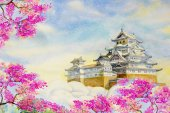 Himeji Castle and spring cherry blossoms.