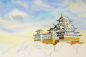 Himeji Castle, in Japan. Watercolor painting