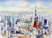 Tokyo tower, Famous landmark of Japan. Watercolor painting.