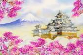 Himeji Castle and full sakura cherry blossom.
