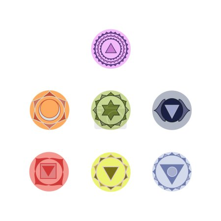 Set of  seven chakras icons. Symbols of energy centers. Yoga and