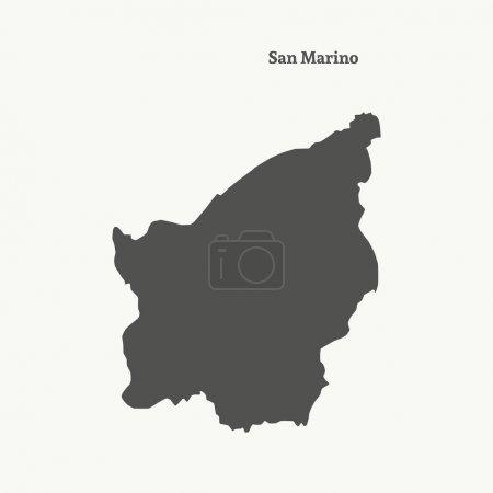 Übersichtskarte von San Marino. Vektorillustration.