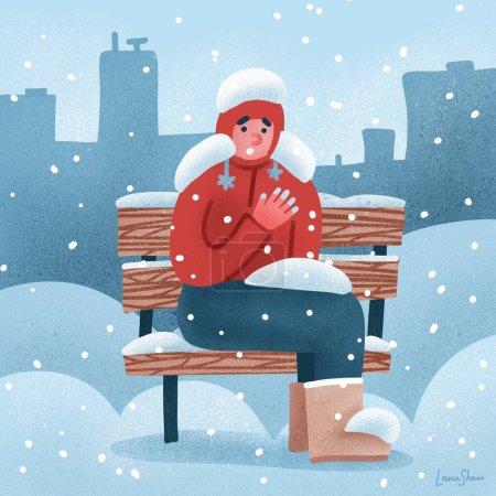 El hombre sufre de congelación. Un tipo con las manos congeladas en invierno se sienta en un banco cubierto de nieve en invierno. ilustración dibujada a mano plana
