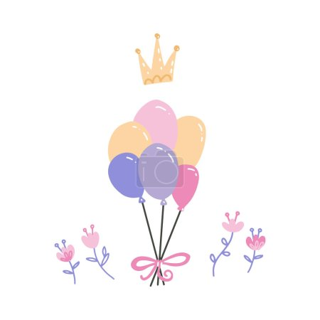 Illustration for Bunch of multicolor balloons with crown and flowers.Party hand drawn accessories. Birthday, anniversary celebration decoration. Isolated clipart for greeting card, invitation.Vector flat illustration. - Royalty Free Image