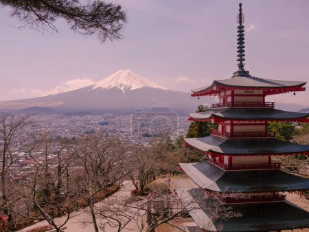 Chureito Pagoda  - Pagoda facing Mount Fuji