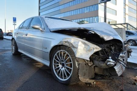 Accident damage on a car