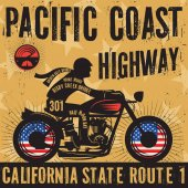 Biker riding a motorcycle poster text Pacific Coast Highway