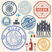 International business travel visa stamps or symbols set Italy