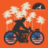 Biker riding a motorcycle poster