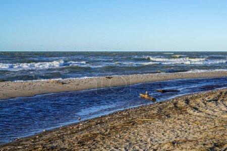 Photo pour Côte de la mer Baltique, petite embouchure de rivière dans la mer orageuse - image libre de droit