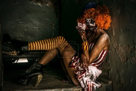 Female zombie clown