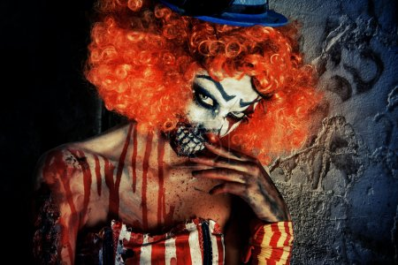 dangerous clown. Halloween. Horror.