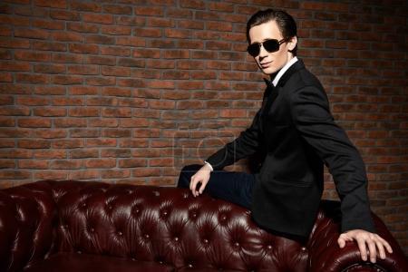 black suit. Men's beauty, fashion.