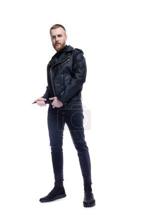 Masculine biker man