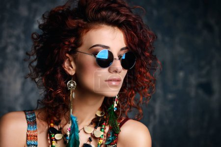 hippie girl in sunglasses