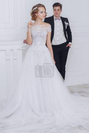 fashionable wedding couple