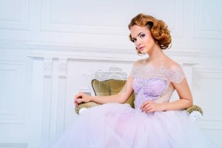pretty bride in dress