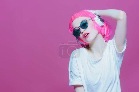 trendy girl with headphones