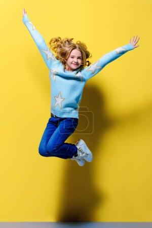 jumping pre-teen girl