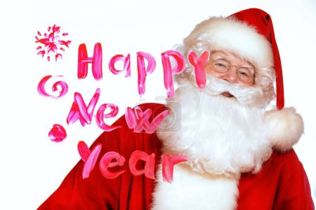 Photo for A portrait of Santa Claus with wishes happy new year. Merry Christmas and Happy New Year! - Royalty Free Image