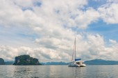 luxury white yacht in the beautiful bay of Thailand in Krabi pro
