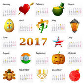 Year 2017 calendar with Holiday symbols