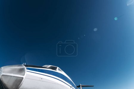 Passenger plane nose close up in flight