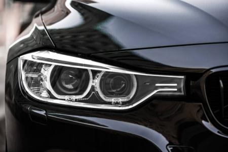 Close-up photo of car headlights