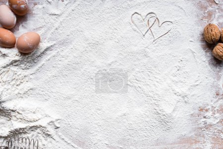 Photo for Ingredients for cooking baking - flour, dough on wooden background - Royalty Free Image