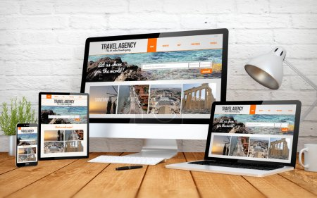 travel agency website screen multidevices