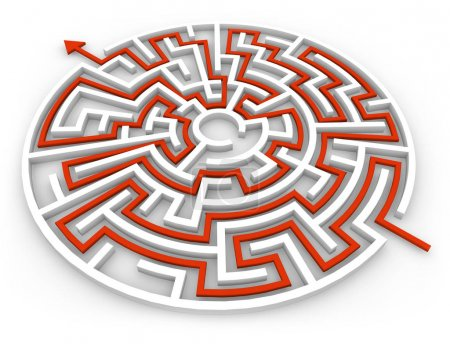 Photo for 3d render of a geometric labyrinth with arrow isolated - Royalty Free Image