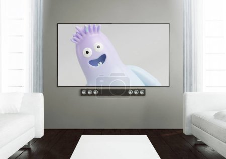 smart tv on a wooden living room