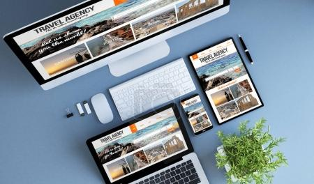 devices with travel agency website on screens
