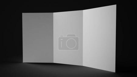 Foto de Render 3D de un folleto tríptico en blanco sobre fondo negro. - Imagen libre de derechos