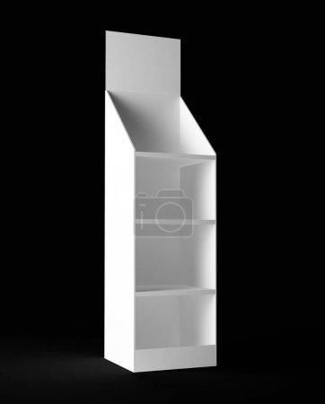 White shelf on black