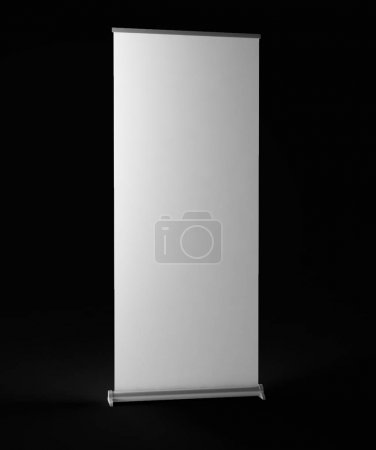 Photo for 3d rendering of Blank realistic paper roller mockup on a black background - Royalty Free Image