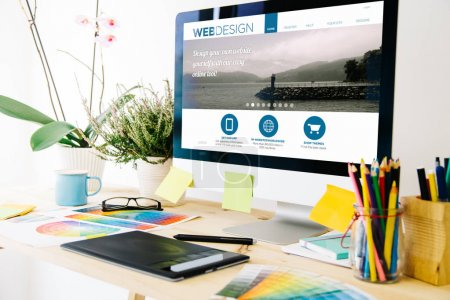 Photo for Web design studio. View of working desk - Royalty Free Image