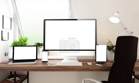 3d rendering of computer, laptop, tablet and smartphone with blank screens