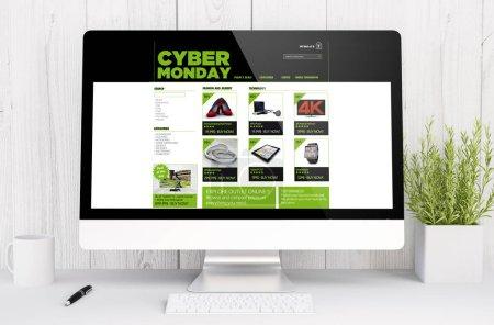 Photo pour Ordinateur de bureau avec cyber lundi site de vente à l'écran, rendu 3d - image libre de droit