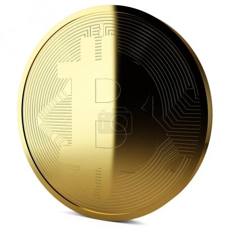 3d rendering of golden bitcoin isolated on white background