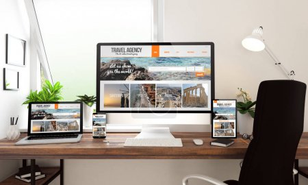 Photo for 3d rendering of computer, laptop, tablet pc and smartphone showing travel agency website - Royalty Free Image