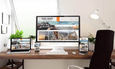 Rendement 3d de l'ordinateur, ordinateur portable, tablette PC et smartphone montrant le site de l'agence de voyage