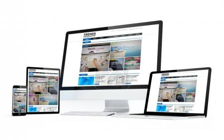 computer, laptop, smartphone and tablet pc with online magazine website on screens, 3d rendering isolated over white background