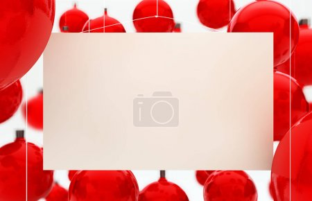 blank card and hanging red Christmas balls, 3d rendering background