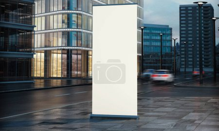 3d rendering of blank white signboard at city street