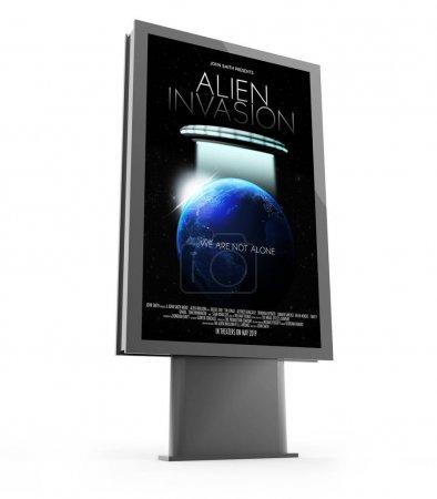 3d rendering of movie poster street marketing billboard