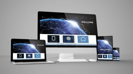 landing page with space design on gadget, 3d rendering