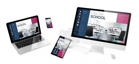 flying devices with online school website, responsive design, 3d rendering